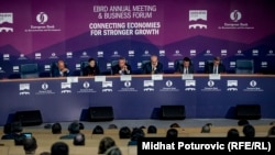 Bosnia and Herzegovina -- Prime ministers of Western Balkans addressing at the EBRD 2019 Annual Meeting and Business Forum, in Sarajevo, May 8, 2019.