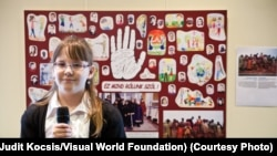 Fourth-grader Gréta Bódi, 11, drew some images for a poster from the Primary School for the Visually Impaired in Budapest, Hungary. 'Ez mind rólunk szól' means 'this is all about us.'