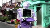 The 'Delta robot' was designed by university lecturers and local residents who built it from old household items. (Reuters Photo)