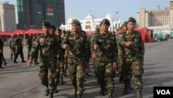 FILE: The armies in sport tournament of Royal Cambodian Arm Force open ceremony at Koh Pich, in Phnom Penh, January 5, 2017. (Kann Vicheika/VOA Khmer)
