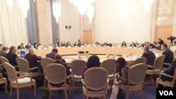 最近在莫斯科舉辦的一場有關亞美尼亞大屠殺的討論會。(美國之音白樺拍攝)