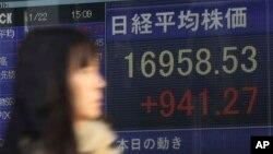 22일 일본 도쿄 증권회사의 전광판에 니케이 지수가 상승한 것으로 나타나 있다.