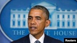 Presiden Barack Obama berbicara perihal Ukraina di Gedung Putih (18/7) sehari setelah pesawat Malaysia MH17 ditembak jatuh di kawasan perbatasan Ukraina.