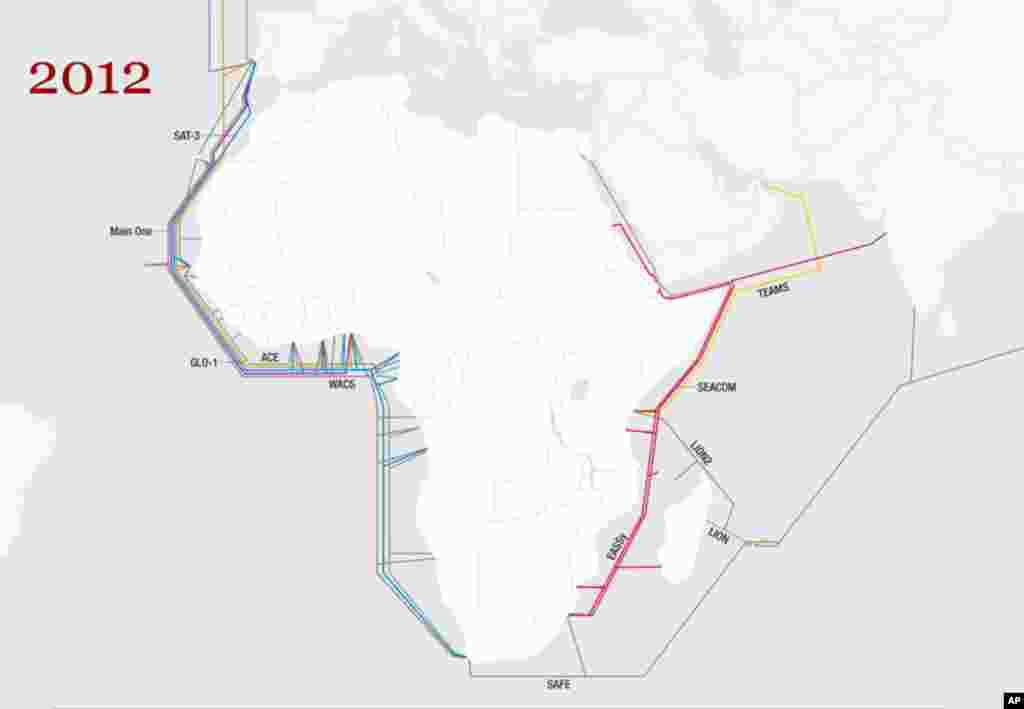 2012: Two new submarine fiber optic cables, the WACS and the ACE, are now set to land in every coastal West African nation except Guinea Bissau. These cables are expected to come online in mid-2012. (Graphics courtesy of Telegeography)