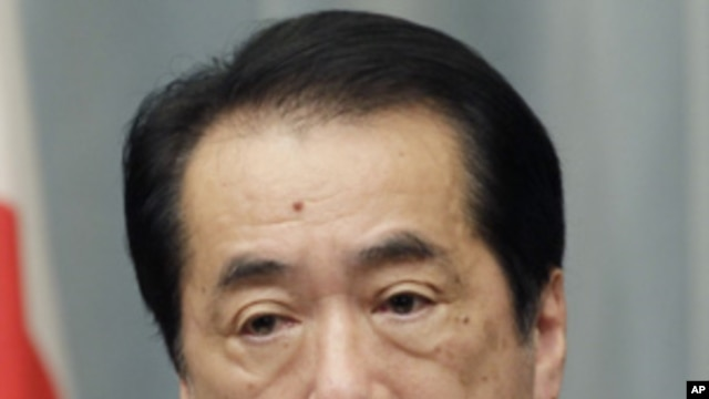 Japanese Prime Minister Naoto Kan during a press conference in Tokyo, May 10, 2011