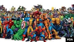 Spiderman, the Hulk, dan Captain America adalah beberapa tokoh serial dalam Komik Marvel.