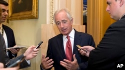 FILE - Senate Foreign Relations Committee Chairman Sen. Bob Corker, R-Tenn., talks with reporters on Capitol Hill in Washington, Oct. 20, 2015.