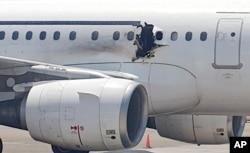 达洛航空公司的空中客车飞机上被炸弹炸出来的洞(2016年2月2日)