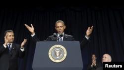Президент США Барак Обама выступает на Национальном молитвенном завтраке в Вашингтоне. 4 февраля 2016 г.