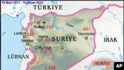 Suriye'de bölge bölge ölü sayısı