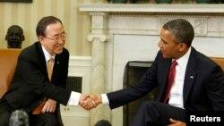 美國總統奧巴馬星期四在白宮與聯合國秘書長潘基文會面﹐討論朝鮮半島形勢。