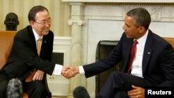 11일 백악관에서 바락 오바마 미국 대통령(오른쪽)과 면담한 반기문 유엔 사무총장.