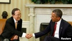 Presiden AS Barack Obama (kanan) menerima kunjungan Sekjen PBB Ban Ki-moon di Gedung Putih, Kamis (11/4).