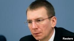 FILE - Latvian Foreign Minister Edgars Rinkevics