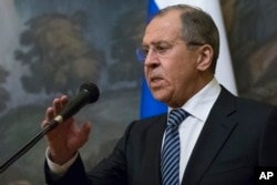 FILE - Russian Foreign Minister Sergey Lavrov speaks to the media in Moscow, Russia, March 29, 2018.