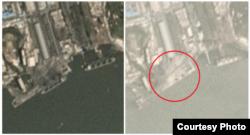 2017년 7월 남포 석탄항(왼쪽)과 올해 7월 같은 장소를 촬영한 플래닛의 위성사진. 정박한 선박이 없고, 항구 야적장이 바닥을 드러낸 모습(원 안)이 확인된다