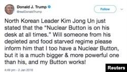 Dòng tweet của TT Trump khoe Nút Bấm Hạt nhân của ông lớn hơn so với nút bấm trên bàn làm việc của lãnh tụ Triều Tiên Kim Jong Un