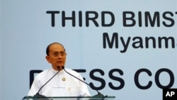 Burma President Thein Sein addresses press conference at the third BIMSTEC summit, Myanmar International Convention Center, Naypyitaw, March 4, 2014.