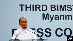 Burma President Thein Sein speaks addresses press conference, third BIMSTEC summit, Myanmar International Convention Center, Naypyitaw, March 4, 2014.