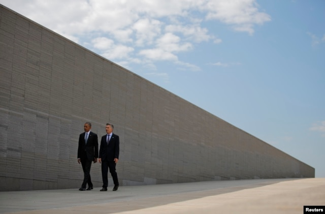 U.S. President Barack Obama and Argentina's President Mauricio Macri visit the Parque de la Memoria (Remembrance Park) where they will honor victims of Argentina's Dirty War on the 40th anniversary of the 1976 coup that initiated that period of military r