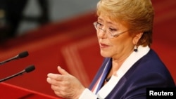 FILE - Chile's President Michelle Bachelet delivers the last speech of her presidential mandate to the nation ahead of the next presidential election, in Valparaiso, June 1, 2017.