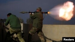 Rocket being launched toward ISIS in Mosul, Iraq. (Jan. 18)