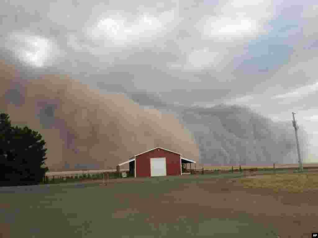 12일 미국 워싱턴주 해링턴 인근 오두막 주변으로 거대한 먼지 폭풍이 몰아치고 있다.