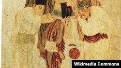 Tranh minh họa người Trung Hoa cổ đang chơi đá banh vào thế kỷ 3 trước Công Nguyên