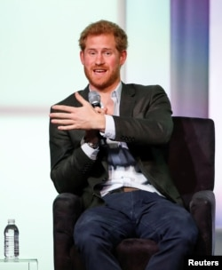 Britain's Prince Harry speaks at the first Obama Foundation Summit in Chicago, Oct. 31, 2017.