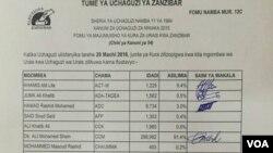 Cheti ya matokeo ya uchaguzi wa rais wa Zanzibar 2016