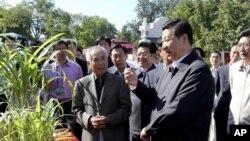 新华社的照片显示习近平前往北京的中国农业大学参加科普日活动