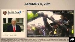Відеокадр із презентації конгресмена-демократа Джохіма Кастро показує твіт Трампа поряд із кадром протесту з поліцейської камери