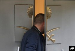 A man enters Saudi Arabia's consulate in Istanbul, Oct. 19, 2018. Investigators are looking into the possibility that the remains of missing Saudi journalist Jamal Khashoggi may have been taken to a forest on the outskirts of Istanbul or another nearby city.