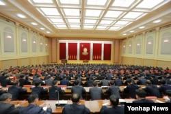 Lãnh đạo Triều Tiên Kim Jong Un dự lễ khen thưởng các nhà khoa học hạt nhân, kỹ thuật viên, công nhân và cán bộ đã đóng góp những gì Bắc Triều Tiên nói là một cuộc thử bom hydro thành công tại hội trường của Ủy ban Trung ương Đảng Lao động Triều Tiên WPK.