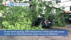 VOA60 America - A rare storm packing 100 mile-per-hour winds swept across the Midwest