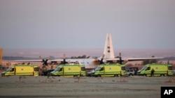امدادگران مصری در محل سقوط هواپیمای روسیه