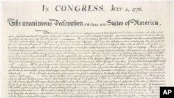 نخستین نسخه بزرگ اعلامیه استقلال آمریکا، در فیلادلفیا در ۴ ژوئیه ۱۷۷۶ میلادی چاپ شد