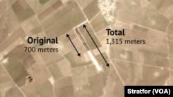 Düşünce Kuruluşu Stratfor'un ele geçirdiği uydu görüntülerinde Rimelan'daki, bir uçak pistinin genişletildği görülüyor
