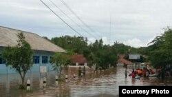 Genangan air di Tanjungsari Gunungkidul. (Foto: VOA/Nurhadi)