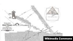 Peta ruang dalam Piramida Agung Giza dari 1909. (Foto:Dok)