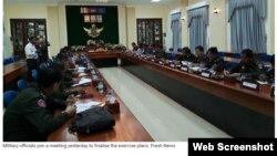 Giới chức quân sự Campuchia tổ chức họp bàn kế hoạch tập trận hôm 05/12/2019. Photo Fresh News/Khmer Times.