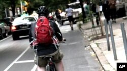 A Philadelphia bicyclist on one of the city's bike lanes.