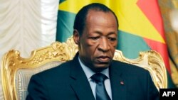 FILE - Burkina Faso President Blaise Compaore announced he was stepping down following violent protests demanding an end to his 27-year rule, Oct. 31, 2014.