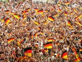 German fans at a world cup qualifying game in 2009...They're expected to vastly outnumber Black Star supporters when the team clash in Johannesburg on June 23rd