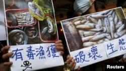 Người biểu tình kêu gọp tập đoàn Formosa điều tra và tự nguyện công bố kết luận của riêng mình về vụ cá chết hàng loạt ở Việt Nam, tại Đài Bắc, Đài Loan, ngày 17 tháng 6, 2016.