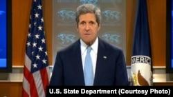 美国国务卿约翰•克里。(国务院官网视频截图)