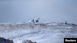 大马士革郊外一个火箭发射器被白雪覆盖(2017年1月28日)