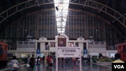 泰国首都曼谷的华南蓬火车站。(美国之音朱诺拍摄,2014年7月14日)