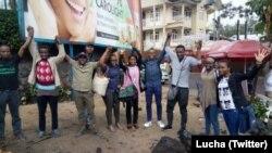 Les membres de la Lutte pour le Changement – Lucha, libérés après deux mois de prison, à Goma, en RDC, le 20 mars 2018. (Twitter/Lucha)