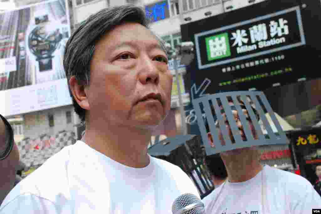 支聯會主席李卓人表示,中國國家主席習近平上台後中國人權狀況倒退(美國之音湯惠芸)
